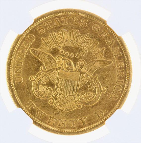 1854-S Liberty Head Double Eagle NGC AU Details Cleaned $20 rev zm
