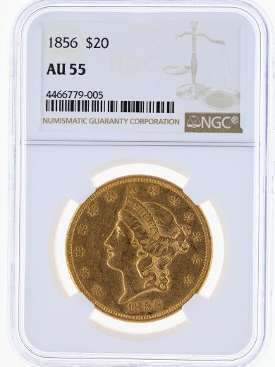 1856 Double Eagle NGC AU55 $20 79005 obv