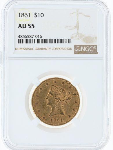 1861 Gold Eagle NGC AU55 $10 Liberty Head obv
