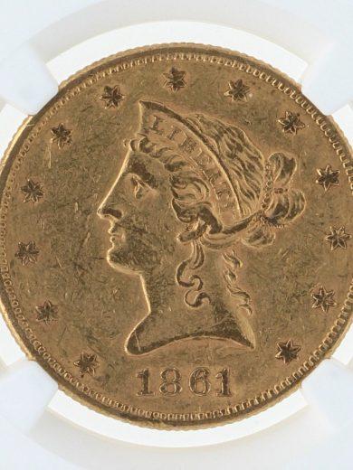 1861 Gold Eagle NGC AU55 $10 Liberty Head obv zm