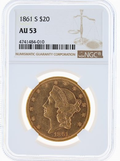 1861-S Double Eagle NGC AU53 $20 84010 obv