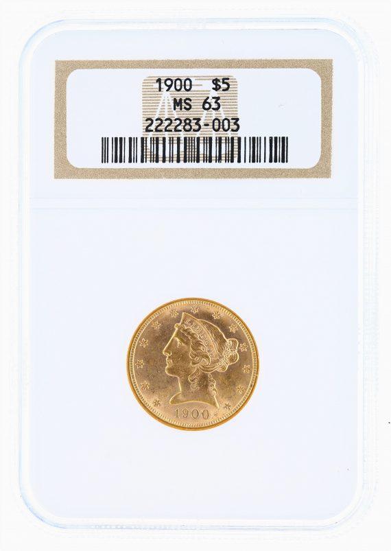 1900 Half Eagle NGC MS63 $5 obv