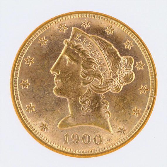 1900 Half Eagle NGC MS63 $5 obv zm