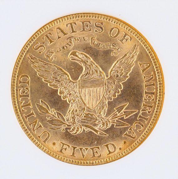 1900 Half Eagle NGC MS63 $5 rev zm