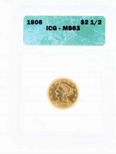 1906 Quarter Eagle ICG MS63 Liberty Head $2.5 obv