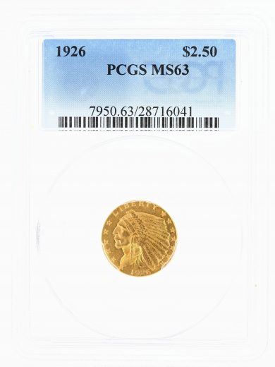 1926 Quarter Eagle PCGS MS63 Indian Head $2.50 obv