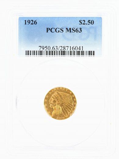 1926 Quarter Eagle PCGS MS63 Indian Head $2.50 obv