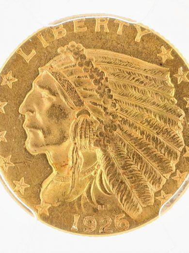1926 Quarter Eagle PCGS MS63 Indian Head $2.50 rev zm
