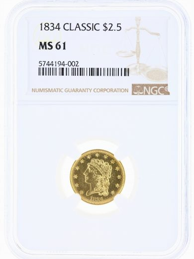 1834 Classic Quarter Eagle NGC MS61 $2.5 obv