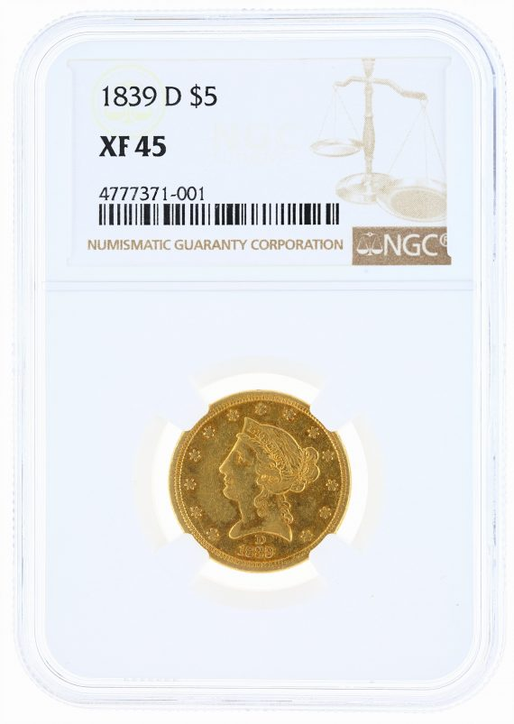 1839-D Half Eagle NGC XF45 Liberty Head $5 obv