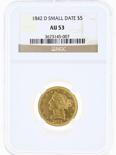 1842-D Small Date Half Eagle NGC AU53 $5 obv
