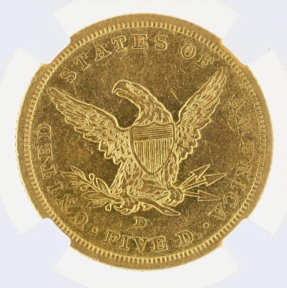 1842-D Small Date Half Eagle NGC AU53 $5 rev zm