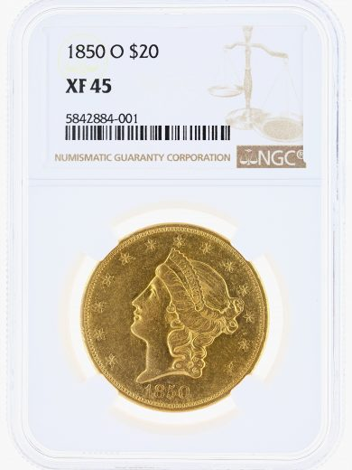 1850-O Double Eagle NGC XF45 $20 Liberty obv
