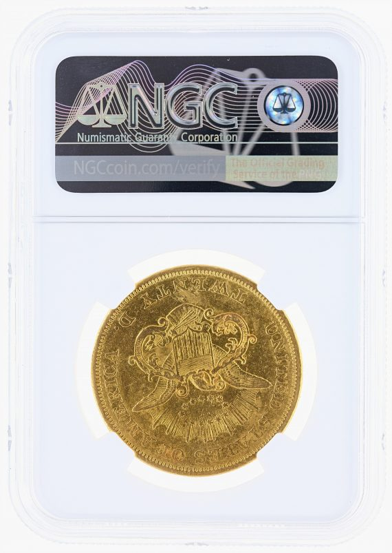 1850-O Double Eagle NGC XF45 $20 Liberty rev