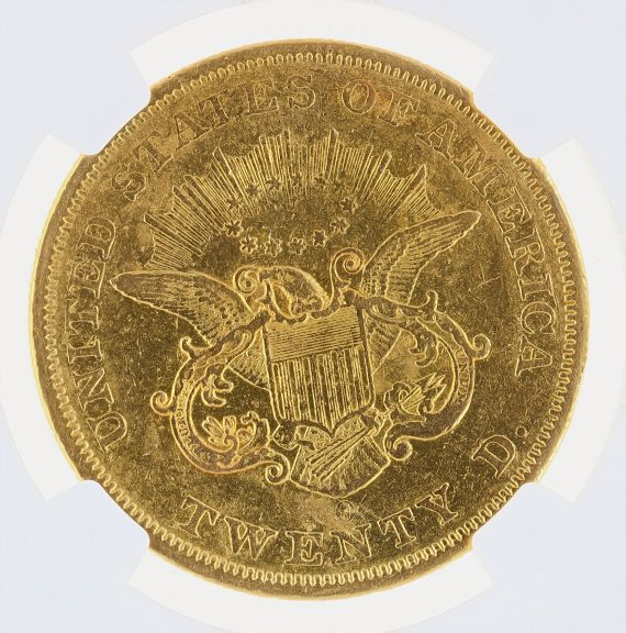 1850-O Double Eagle NGC XF45 $20 Liberty rev z,m