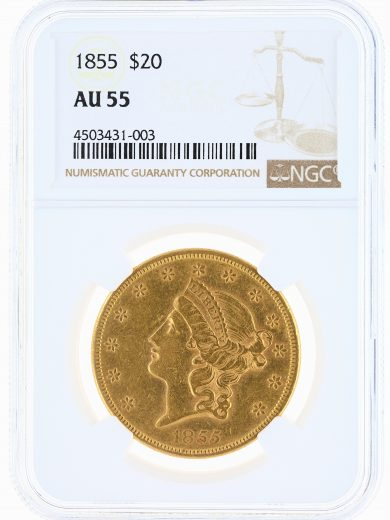1855 Double Eagle NGC AU55 $20 Liberty obv