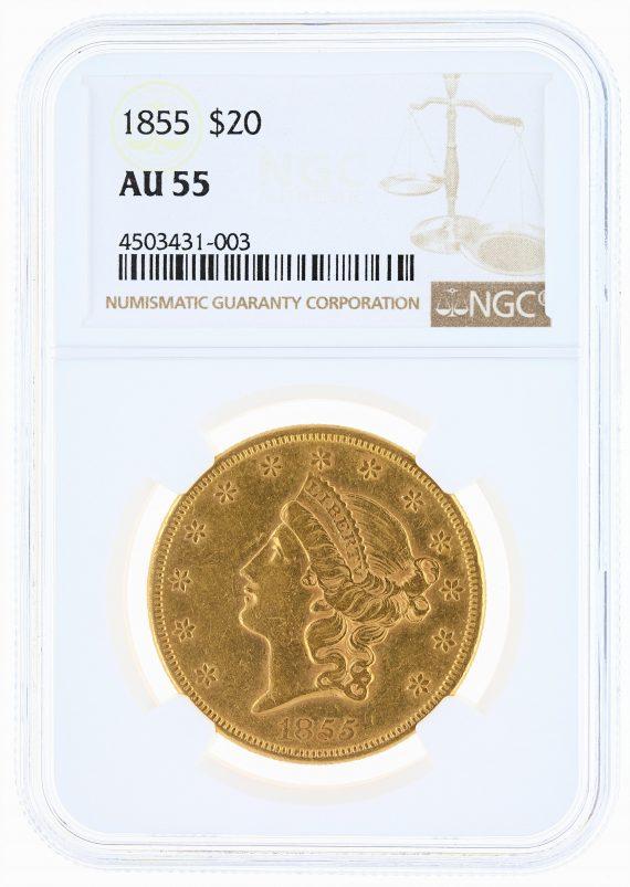 1855 Double Eagle NGC AU55 $20 Liberty obv
