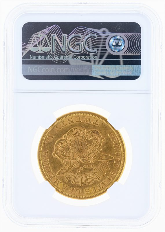 1855 Double Eagle NGC AU55 $20 Liberty rev