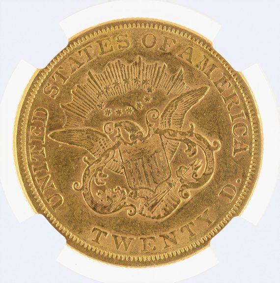 1855 Double Eagle NGC AU55 $20 Liberty rev zm