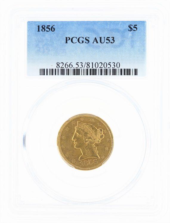 1856 Half Eagle PCGS AU53 $5 obv