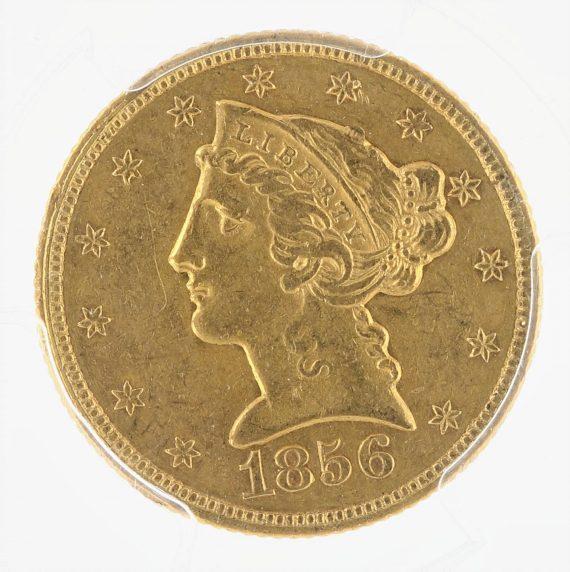 1856 Half Eagle PCGS AU53 $5 obv zm