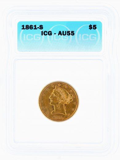 1861-S Half Eagle ICG AU55 $5 obv