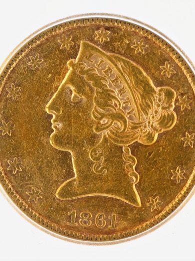 1861-S Half Eagle ICG AU55 $5 obv zm