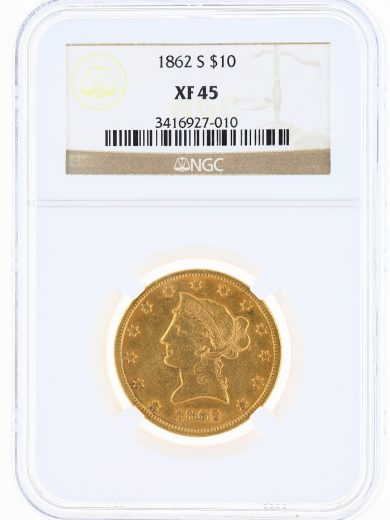 1862-S Gold Eagle NGC XF45 $10 Liberty Head obv