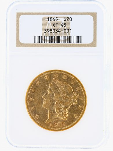 1865 Double Eagle NGC XF45 $20 Liberty obv