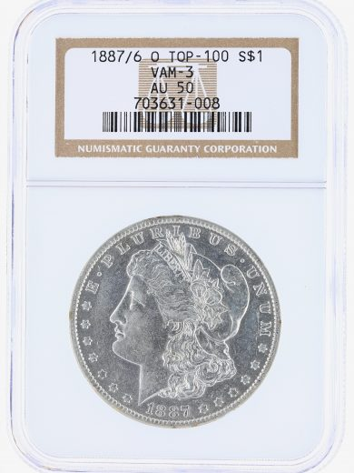 1887/6-O VAM-3 Top-100 NGC AU50 S$1 Morgan Dollar obv