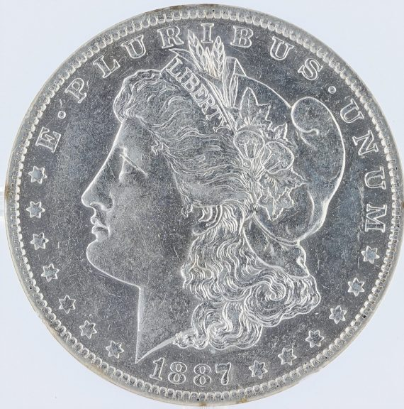1887/6-O VAM-3 Top-100 NGC AU50 S$1 Morgan Dollar obv zm