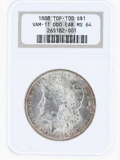 1888 VAM-11 Top 100 DDO Ear NGC MS64 S$1 obv