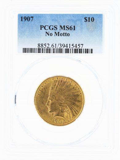 1907 Gold Eagle PCGS MS61 No Motto $10 Indian Head obv