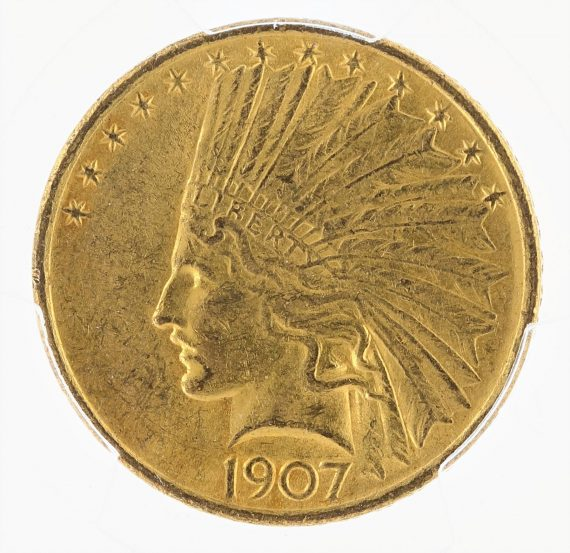 1907 Gold Eagle PCGS MS61 No Motto $10 Indian Head obv zm