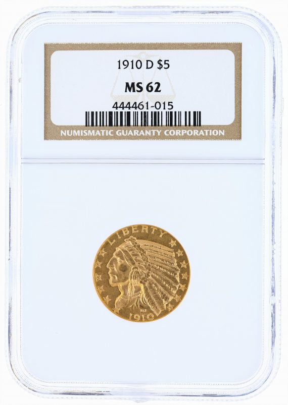 1910-D Half Eagle NGC MS62 Indian Head $5 obv