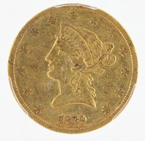 1839 Type of 1840 Gold Eagle PCGS AU50 $10 Liberty Head obv zm