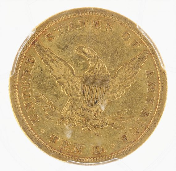 1839 Type of 1840 Gold Eagle PCGS AU50 $10 Liberty Head rev zm