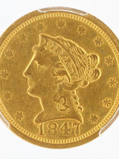 1847-O Quarter Eagle PCGS AU50 $2.50 obv