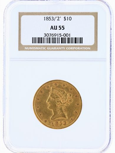 1853/'2' Gold Eagle NGC AU55 $10 Liberty Head obv