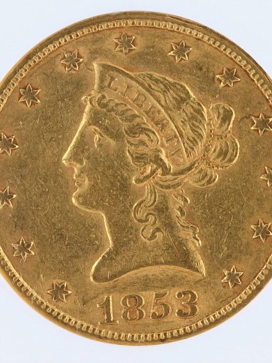 1853/'2' Gold Eagle NGC AU55 $10 Liberty Head obv zm