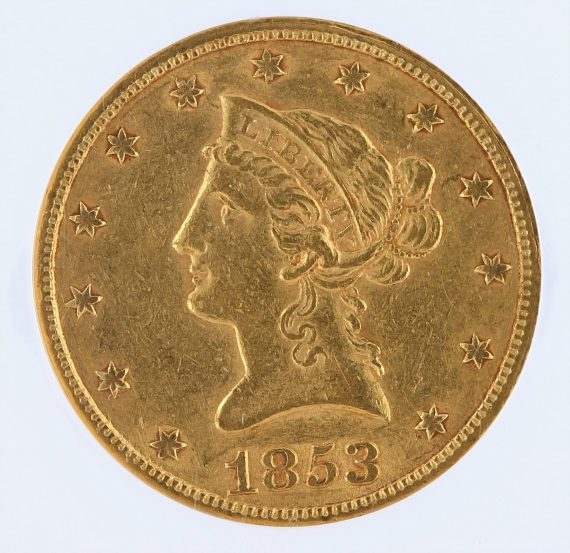 1853/'2' Gold Eagle NGC AU55 $10 Liberty Head obv zm