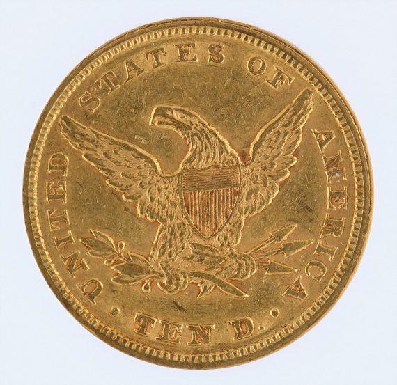 1853/'2' Gold Eagle NGC AU55 $10 Liberty Head rev zm