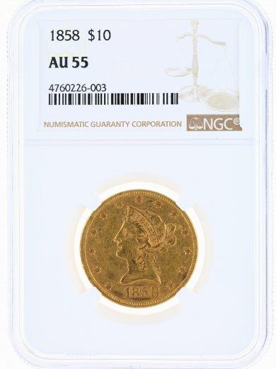 1858 Gold Eagle NGC AU55 $10 Liberty Head obv