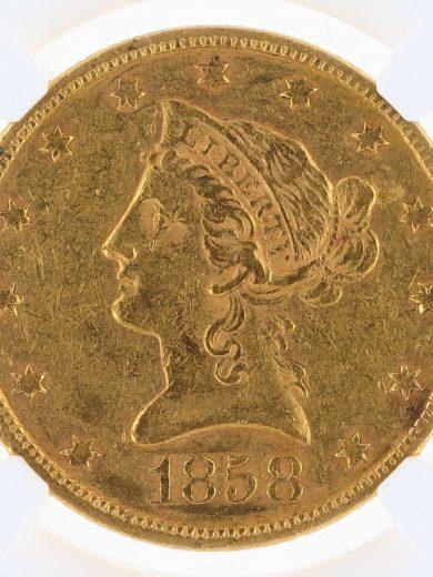 1858 Gold Eagle NGC AU55 $10 Liberty Head OBV ZM