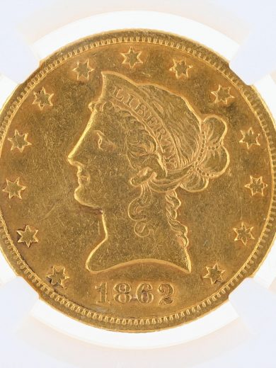 1862-S Gold Eagle NGC XF45 $10 Liberty Head obv zm