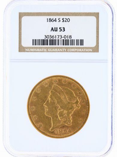 1864-S Double Eagle NGC AU53 $20 Liberty obv