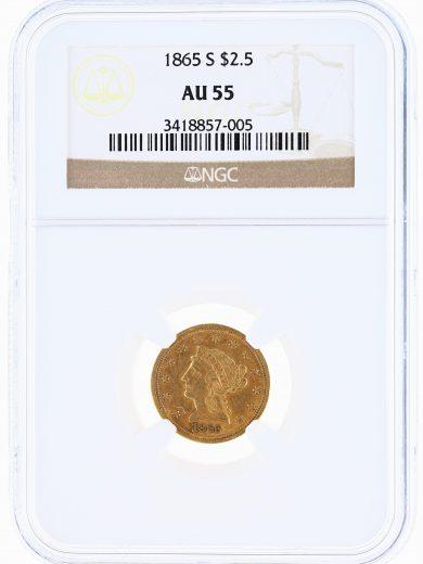 1865-S Quarter Eagle NGC AU55 $2.5 obv