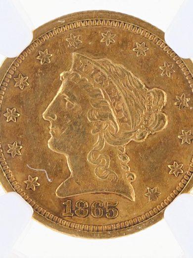 1865-S Quarter Eagle NGC AU55 $2.5 obv zm