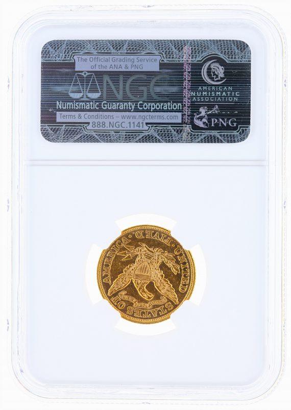 1866 Motto Half Eagle NGC MS61 $5 Liberty Head rev