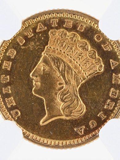 1871 Gold Dollar NGC MS60 G$1 obv zm
